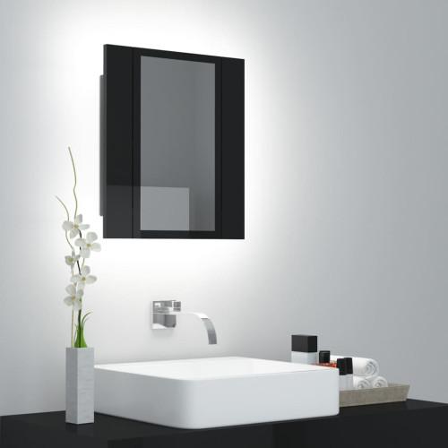 vidaXL Spegelskåp för badrum LED svart högglans 40x12x45 cm