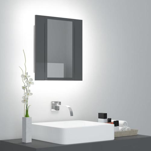 vidaXL Spegelskåp för badrum LED grå högglans 40x12x45 cm