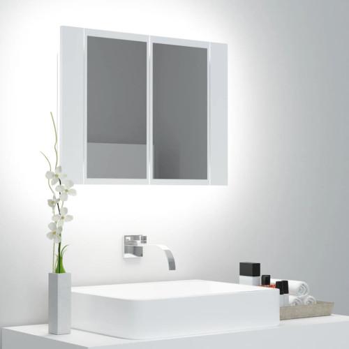 vidaXL Spegelskåp med LED vit 60x12x45 cm
