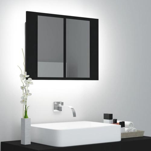 vidaXL Spegelskåp med LED svart 60x12x45 cm