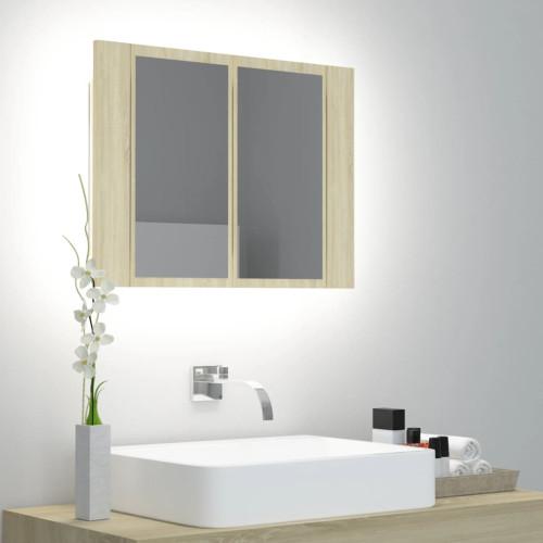 vidaXL Spegelskåp med LED sonoma-ek 60x12x45 cm