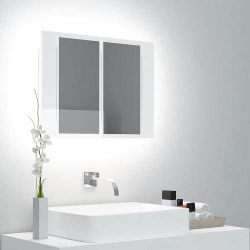 vidaXL Spegelskåp för badrum LED vit högglans 60x12x45 cm