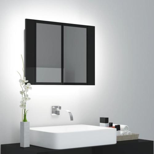 vidaXL Spegelskåp för badrum LED svart högglans 60x12x45 cm