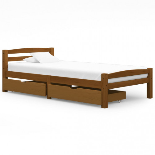 vidaXL Sängram med 2 lådor honungsbrun massiv furu 90x200 cm