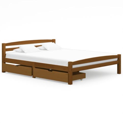 vidaXL Sängram med 2 lådor honungsbrun massiv furu 160x200 cm