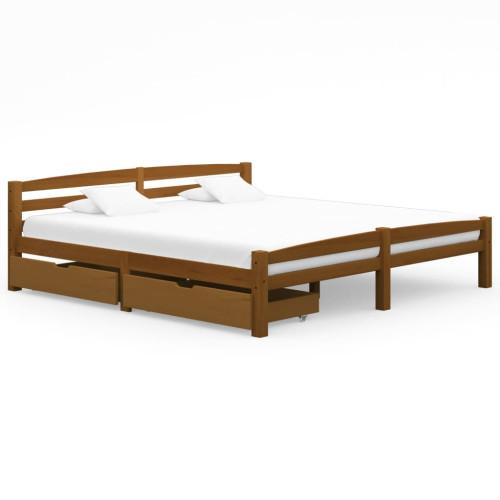 vidaXL Sängram med 2 lådor honungsbrun massiv furu 180x200 cm