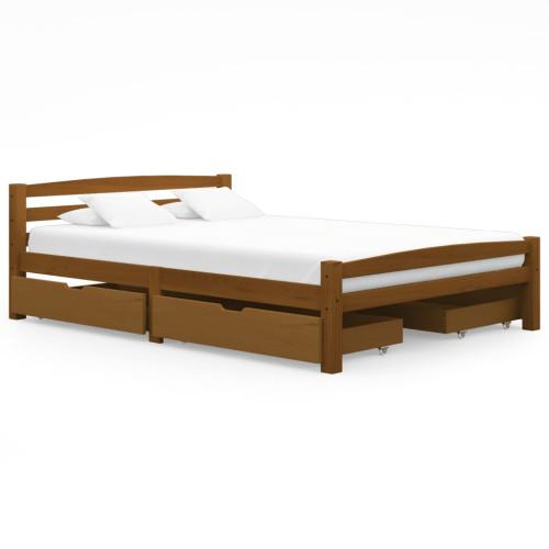 vidaXL Sängram med 4 lådor honungsbrun massiv furu 140x200 cm