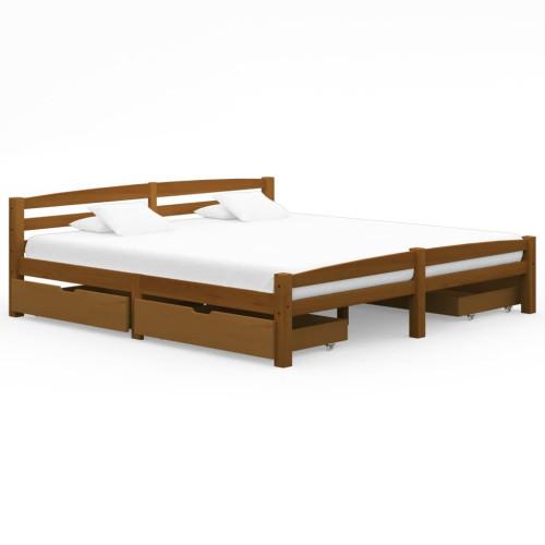 vidaXL Sängram med 4 lådor honungsbrun massiv furu 180x200 cm