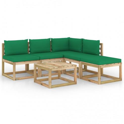 vidaXL Loungegrupp med gröna dynor 6 delar