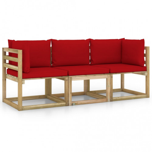 vidaXL 3-sitssoffa för trädgården med röda dynor