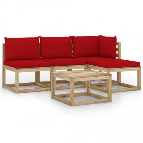 vidaXL Loungegrupp med röda dynor 5 delar