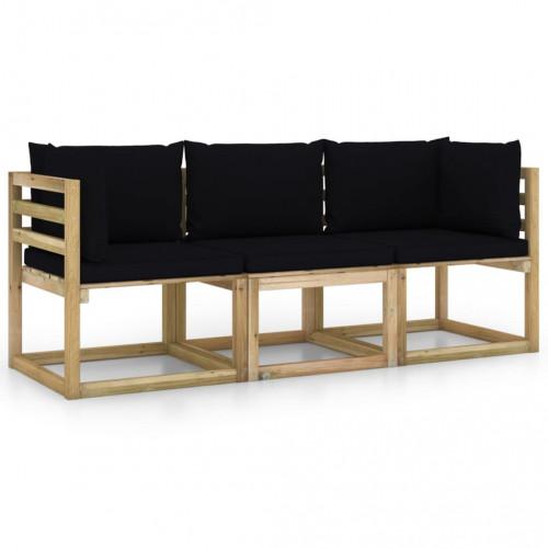 vidaXL 3-sitssoffa för trädgården med svarta dynor