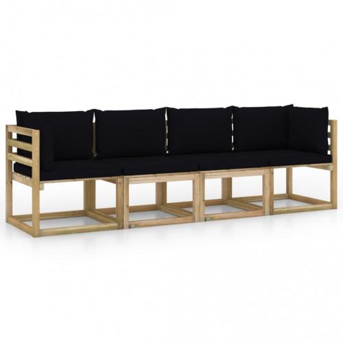 vidaXL 4-sitssoffa för trädgården med svarta dynor