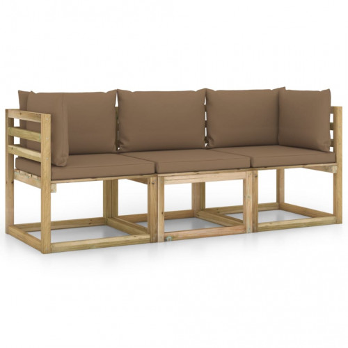 vidaXL 3-sitssoffa för trädgården med taupe dynor