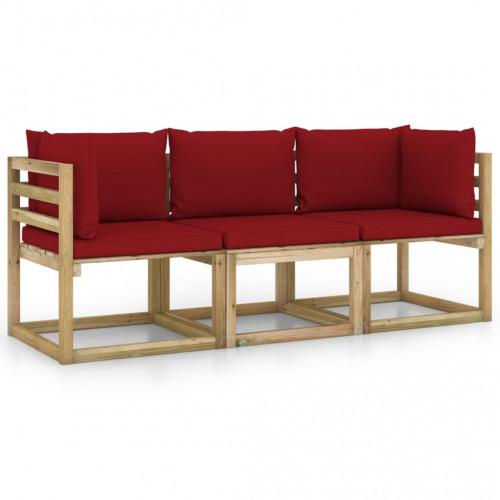vidaXL 3-sitssoffa för trädgården med vinröda dynor