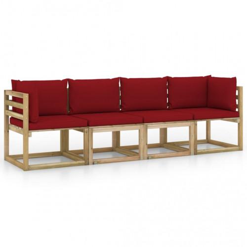 vidaXL 4-sitssoffa för trädgården med vinröda dynor