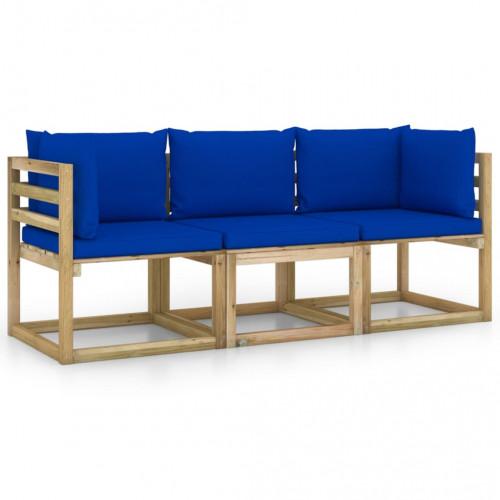vidaXL 3-sitssoffa för trädgården med blå dynor
