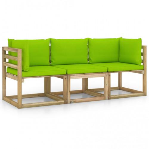 vidaXL 3-sitssoffa för trädgården med ljusgröna dynor