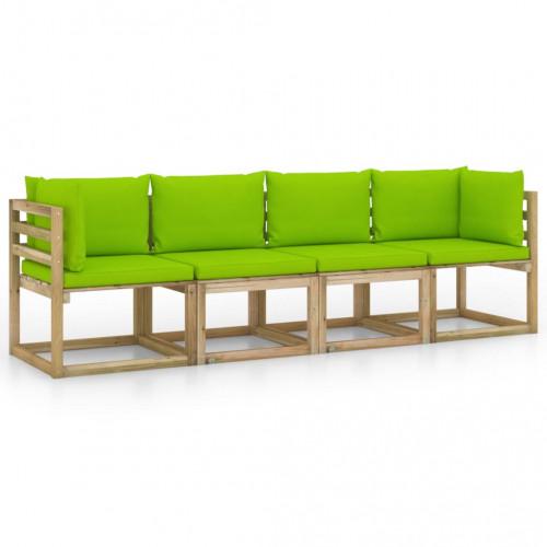 vidaXL 4-sitssoffa för trädgården med ljusgröna dynor