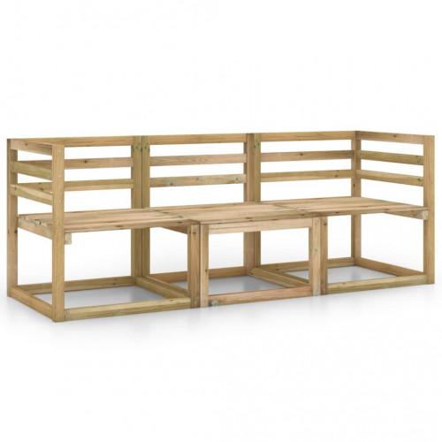 vidaXL 3-sitssoffa för trädgården tryckimpregnerad furu