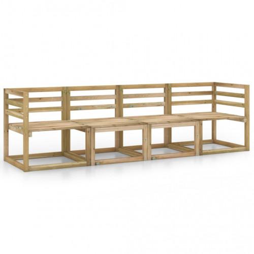 vidaXL 4-sitssoffa för trädgården tryckimpregnerad furu