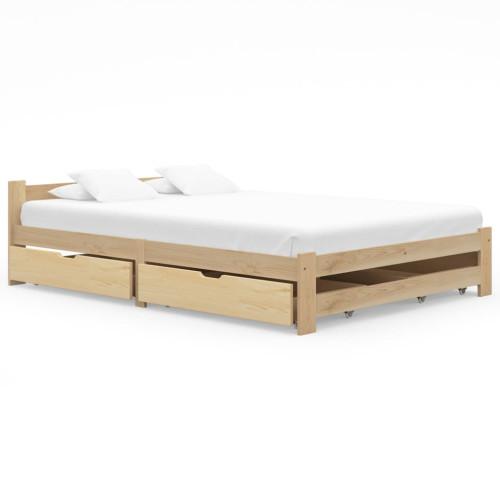 vidaXL Sängram med 4 lådor massiv furu 160x200 cm