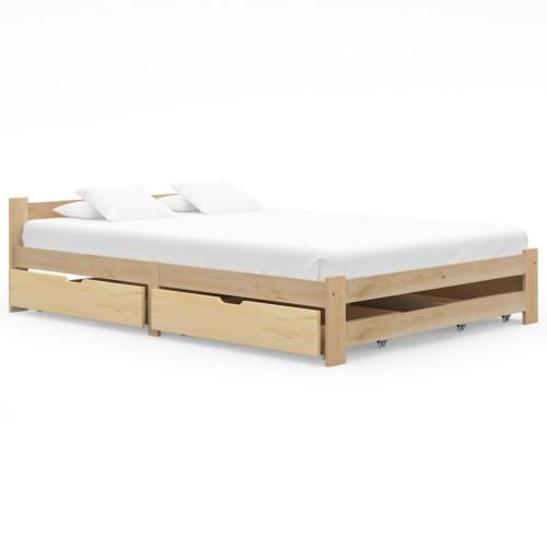 vidaXL Sängram med 4 lådor massiv furu 180x200 cm