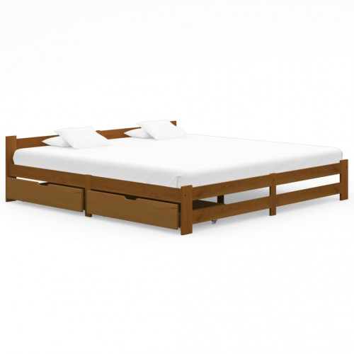 vidaXL Sängram med 2 lådor honungsbrun massiv furu 200x200 cm
