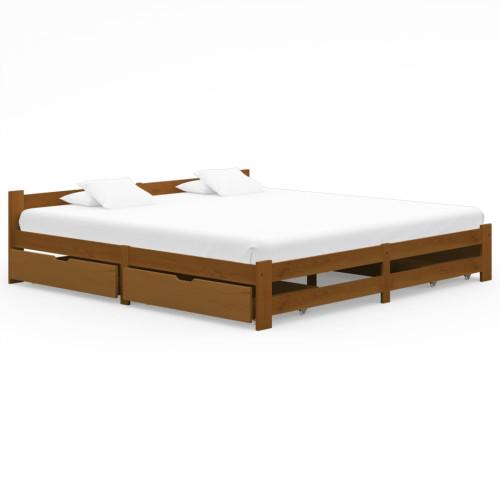 vidaXL Sängram med 4 lådor honungsbrun massiv furu 200x200 cm