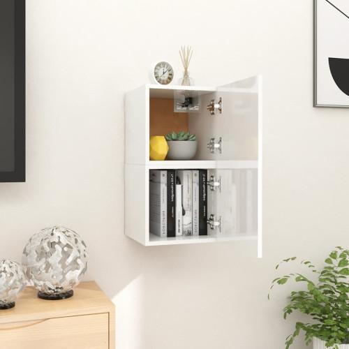 vidaXL Väggmonterade tv-bänkar 2 st vit högglans 30,5x30x30 cm