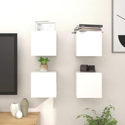 vidaXL Väggmonterade tv-bänkar 4 st vit högglans 30,5x30x30 cm