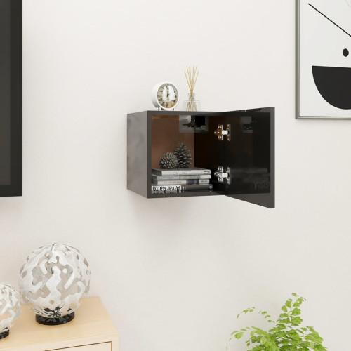 vidaXL Väggmonterad tv-bänk svart högglans 30,5x30x30 cm