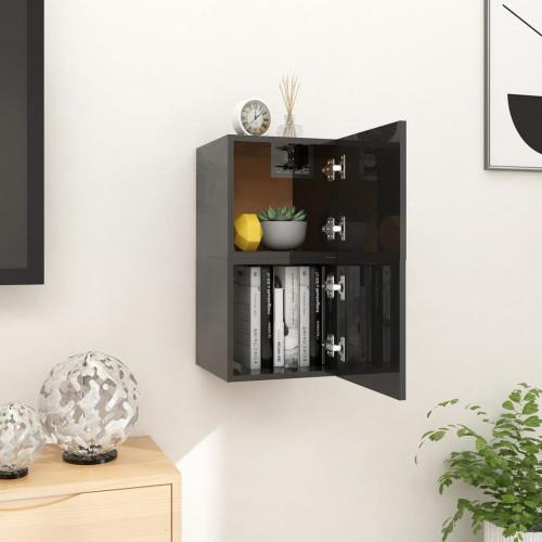 vidaXL Väggmonterade tv-bänkar 2 st svart högglans 30,5x30x30 cm