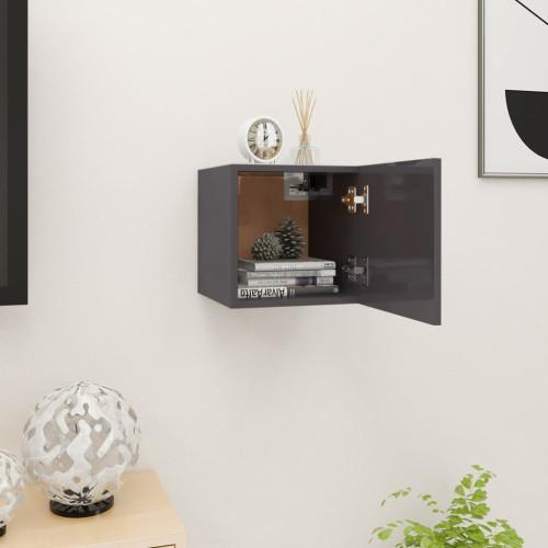 vidaXL Väggmonterad tv-bänk grå högglans 30,5x30x30 cm