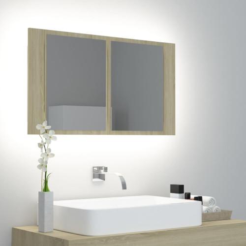vidaXL Spegelskåp med LED sonoma-ek 80x12x45 cm