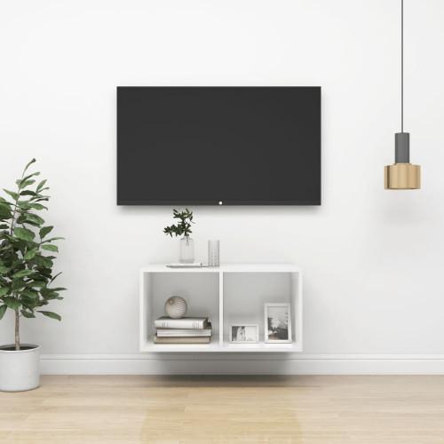 vidaXL Väggmonterad tv-bänk vit 37x37x72 cm spånskiva