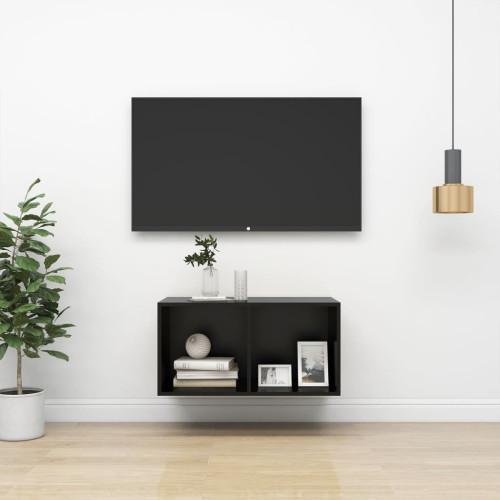 vidaXL Väggmonterad tv-bänk svart 37x37x72 cm spånskiva