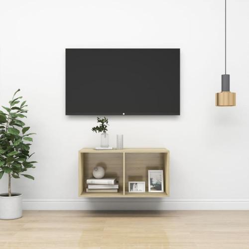 vidaXL Väggmonterad tv-bänk somona-ek 37x37x72 cm spånskiva