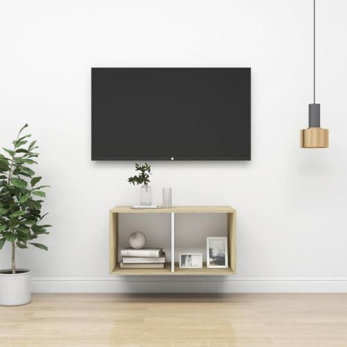 vidaXL Väggmonterad tv-bänk somona-ek och vit 37x37x72 cm spånskiva