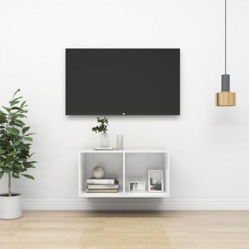 vidaXL Väggmonterad tv-bänk vit högglans 37x37x72 cm spånskiva