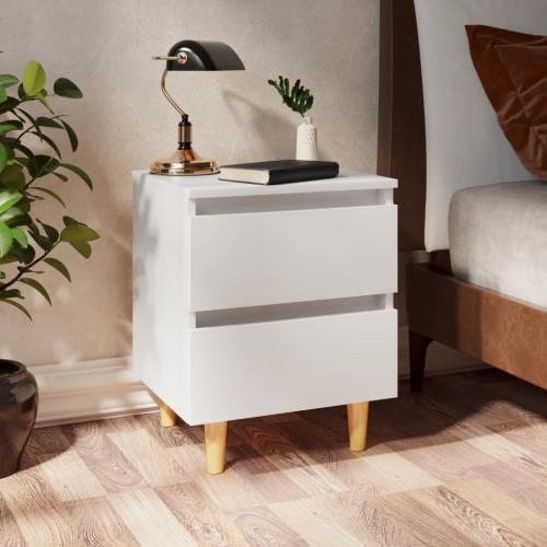 vidaXL Sängbord med massiva furuben vit 40x35x50 cm