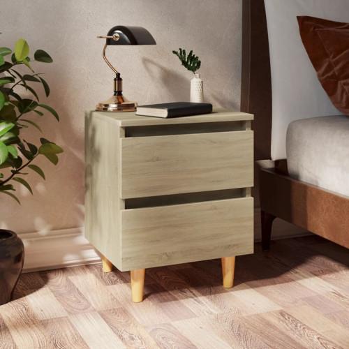 vidaXL Sängbord med massiva furuben sonoma-ek 40x35x50 cm