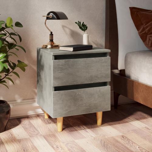 vidaXL Sängbord med massiva furuben betonggrå 40x35x50 cm