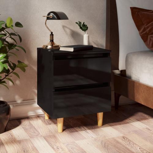 vidaXL Sängbord med massiva furuben svart högglans 40x35x50 cm