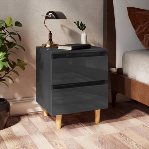 vidaXL Sängbord med massiva furuben grå högglans 40x35x50 cm