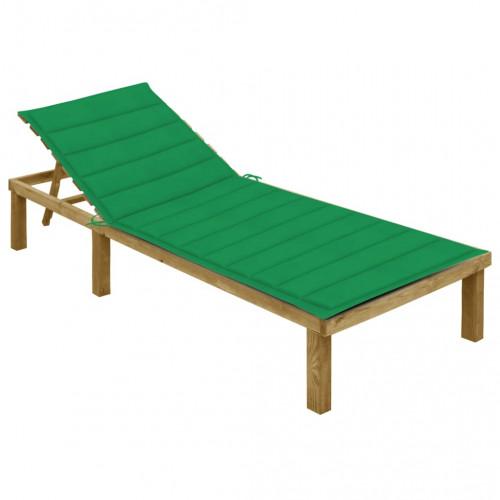 vidaXL Solsäng med grön dyna impregnerad furu