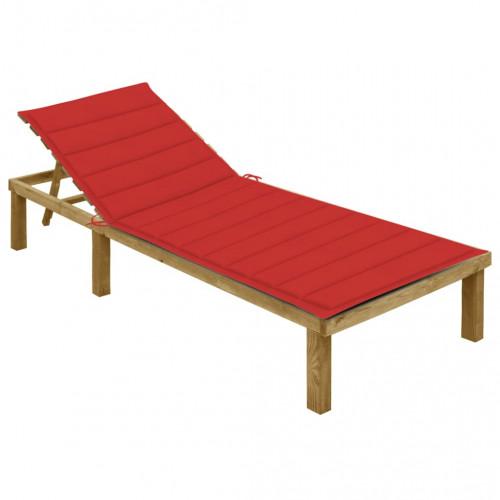 vidaXL Solsäng med röd dyna impregnerad furu