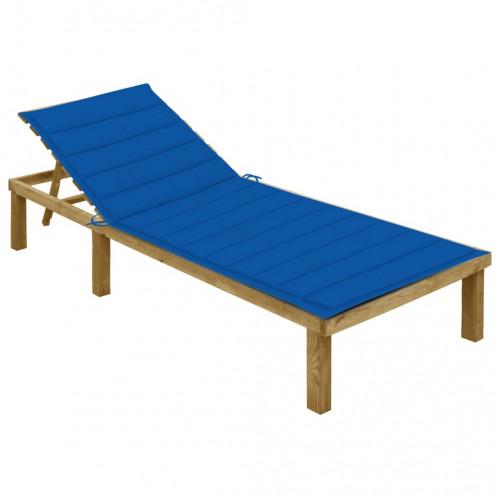 vidaXL Solsäng med blå dyna impregnerad furu