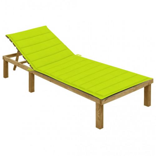 vidaXL Solsäng med ljusgrön dyna impregnerad furu