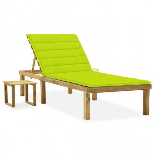 vidaXL Solsäng med bord och dyna impregnerad furu